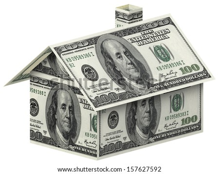 House made of 100 dollar bills over white background  - stock photo