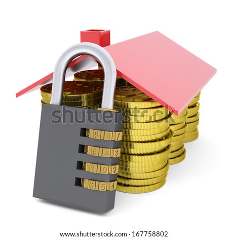 House made of dollars and combination lock. 3d render isolated on white background - stock photo