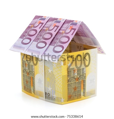 House made of euro banknotes, isolated on the white background, clipping path included. Full focus. - stock photo
