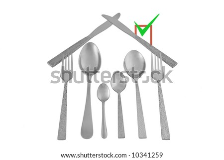 House made of kitchenware symbolize home and family defense, isolated over white - stock photo