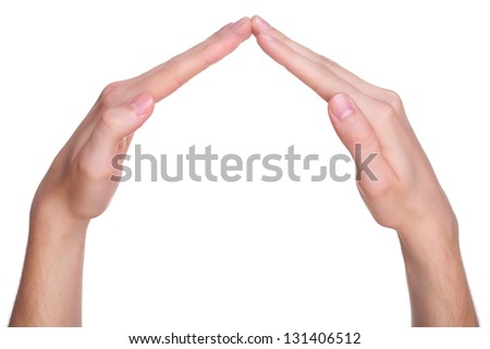 House made of male hands, isolated on white background - stock photo
