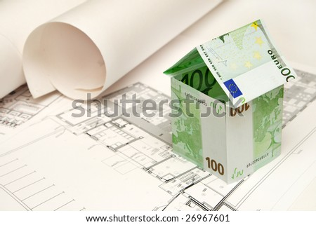 House made money on blueprint stock photo edit now shutterstock house made of money on the blueprint malvernweather Image collections