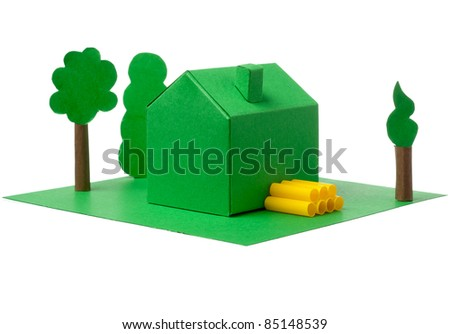 house made of paper with the trees - stock photo