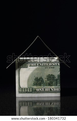 House made with One hundred dollars, money house - stock photo