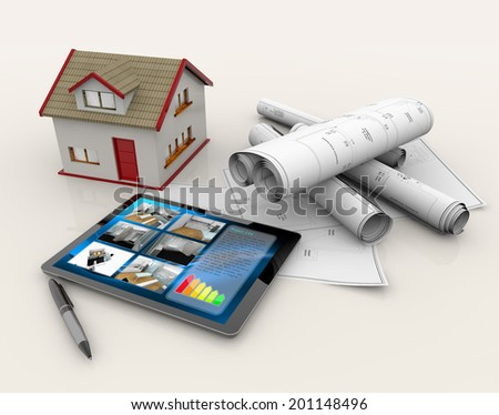 house model, blueprints, tablet and pen - stock photo