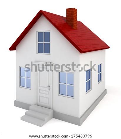 House model. 3d illustration on white background  - stock photo