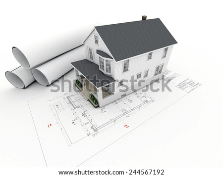 House model on architectural drawing - stock photo