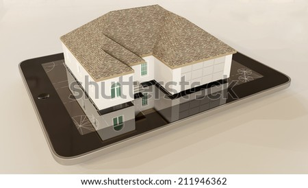House model on tablet computer, real estate concept. - stock photo