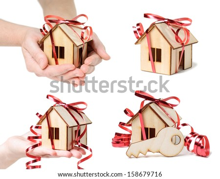 House Model set with hands, ribbon and key   isolated on white background.