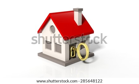 House model with golden key isolated on white background
