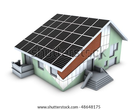 House model with polystyrene block and solar panels - stock photo
