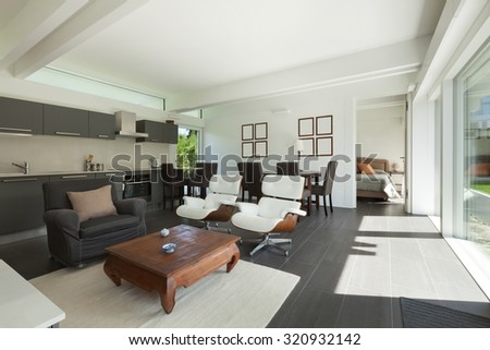 House, modern interiors, beautiful living room furnished - stock photo