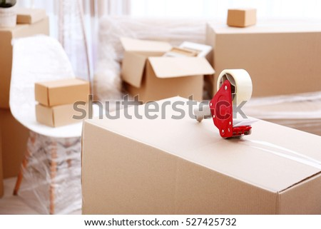 Home Furniture Movers Concept Interior Moving Boxes Stock Images Royaltyfree Images & Vectors .