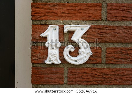 House number thirteen (13)