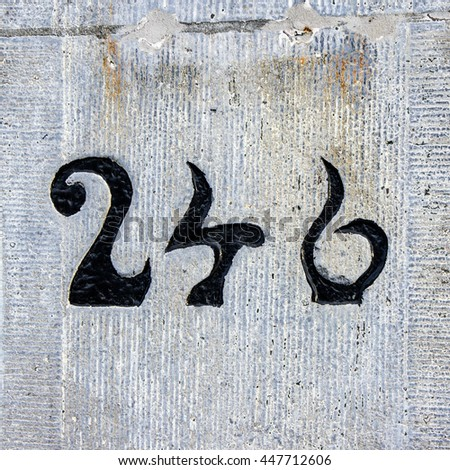 house number two hundred and forty six - stock photo