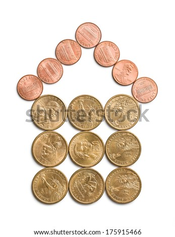 house of coins on white background - stock photo