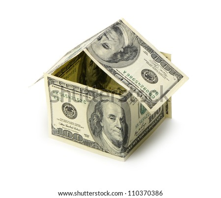 House of dollars. Isolated on white background
