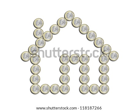 house of euro coins on a white background - stock photo