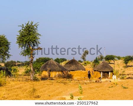 House of farmer in Jaisalmer, Rajasthan, India - stock photo