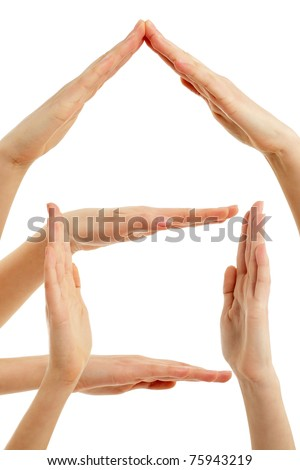 house of hands concept finger frame isolated on white background - stock photo
