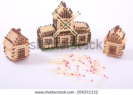 House of matches on the plane home - stock photo