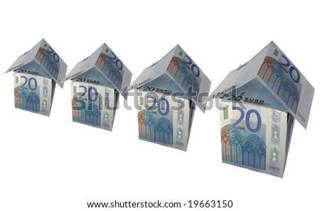 House of money made of Euro banknotes - stock photo