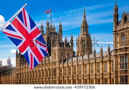 House of Parliament and British flag