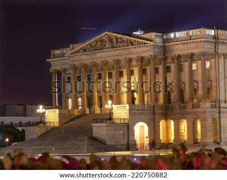 House of Representatives US Capitol North Side Congress Capitol Hill Night Stars Washington DC - stock photo