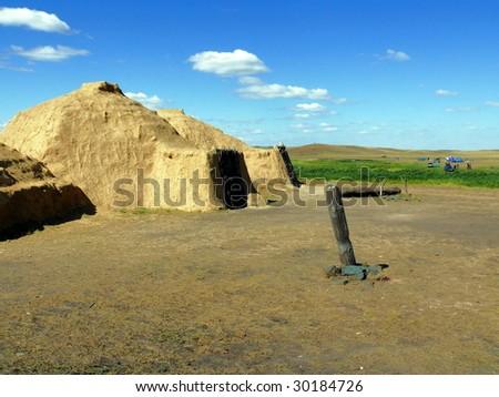 house of stone age (reconstruction) - Arkaim - stock photo