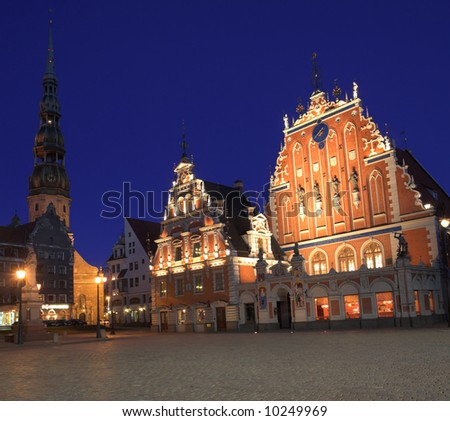 House Of The Blackheads At Night, Old Town, Riga, Latvia - stock photo