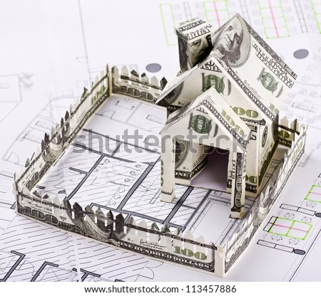 House of the money for the architectural drawing - stock photo
