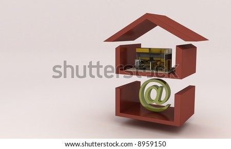 house office and mail symbol - stock photo