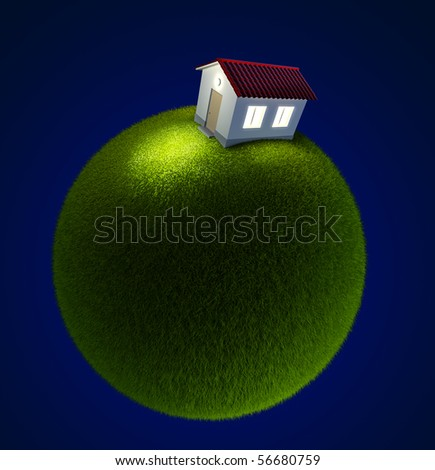 house on a small green planet. Isolated 3d rendering - stock photo