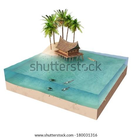 house on a tropical island - stock photo