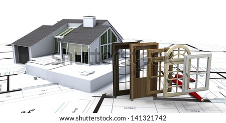 House on blueprints with a choice of windows and doors - stock photo
