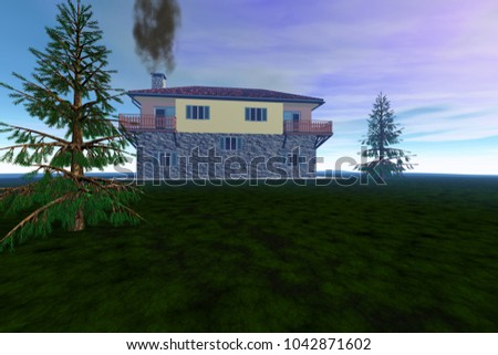 House on coniferous trees, 3D rendering, grass on the ground, smoke in the chimney and a colored sky.