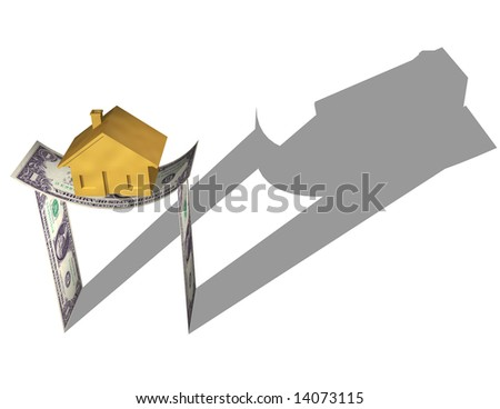HOUSE ON MONEY A gold house on a structure dollar bills, bending under the stress. Symbol of housing market crash, investment risk, or a downturn in the housing market. Isolated 3D illustration. - stock photo