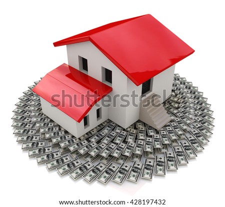House on money in the design of access to information relating to the sale or purchase of Real Estate. 3d illustration - stock photo