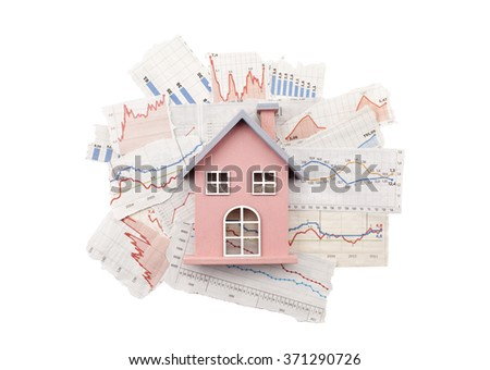 House on newspaper charts with clipping path - stock photo