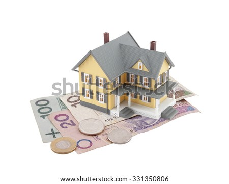 House on polish money isolated on white - stock photo