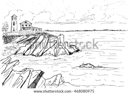 house on rocks by seaのイラスト素材 468080975 shutterstock
