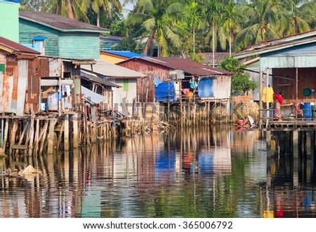 House on stilts in Cambodia are everywhere - stock photo