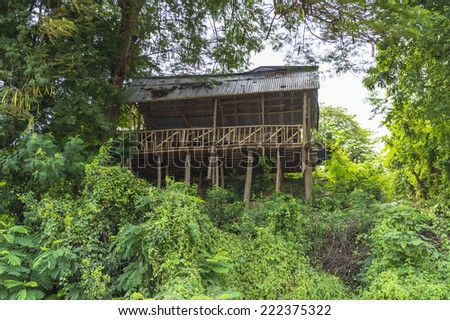 House on the coast of the Mekong river in Laos