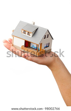 house on the hand, isolated on white