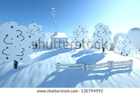 house on the hill, winter day and snow man - stock photo