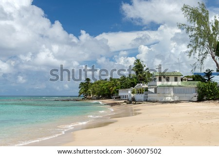 house on the ocean beach of Barbados - stock photo