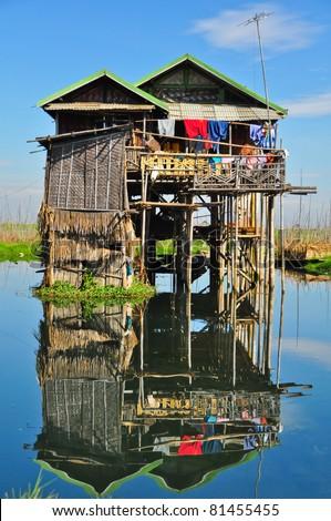 house  on the water, Inle Lake, Burma - stock photo