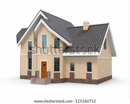 House on white background. Three-dimensional image. 3d - stock photo