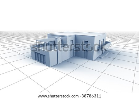 House on white grid background