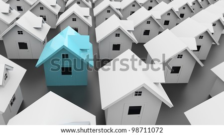 House one blue - stock photo